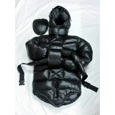 Unisex glossy nylon wet look winter spreading romper down body diaper M - 3XL 1076BD