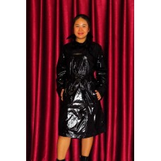 Coated shiny nylon wetlook raincoat trench coat M - 3XL 1083TC