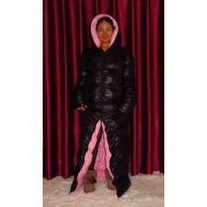 Unisex glossy nylon wet look down quilted coat reversible coat M - 3XL 1078DM